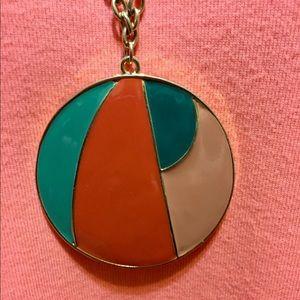 "Jewelry - A multi color 2 1/2"" pendant necklace w/gold chain"